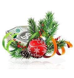 Christmas ball with money vector image