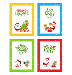 christmas greeting cards cute decorated with santa vector image