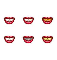 Clipart of red female lips for dental design vector
