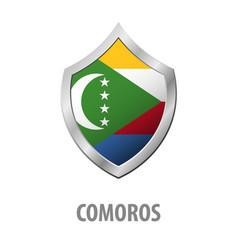 comoros flag on metal shiny shield vector image