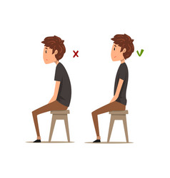 correct and worst positions for sitting boy vector image