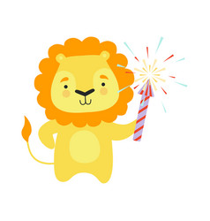 cute lion with a party popper lovely cartoon vector image