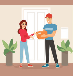 delivery concept woman vector image