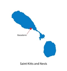 Detailed map of Saint Kitts and Nevis and capital vector