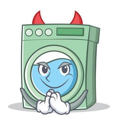 Devil washing machine character cartoon vector