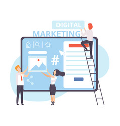 digital marketing businesspeople working on vector image