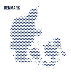 dotted map of denmark isolated on white background vector image