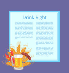 drink right poster depicting food and beverage vector image