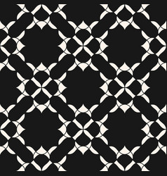 elegant geometric floral pattern black and white vector image