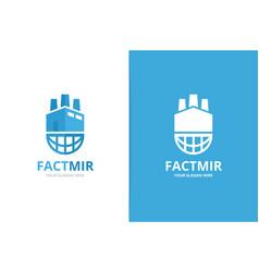 factory and planet logo combination unique vector image