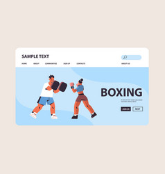 female boxer practicing boxing exercises with male vector image