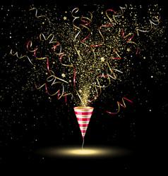 Festive party popper with gold confetti vector