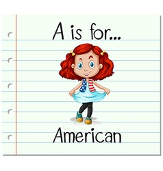Flashcard alphabet A is for American vector