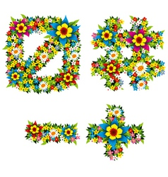 flower and bush letters 14 vector image