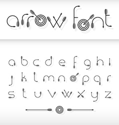 font alphabet shaped like archery arrows vector image