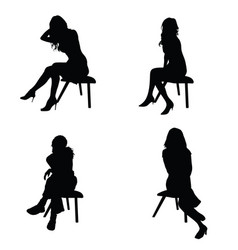 girl elegance silhouette sitting in black color vector image