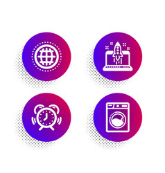 globe time management and start business icons vector image