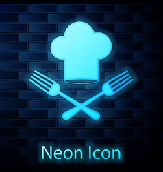 Glowing neon chef hat and crossed fork icon vector