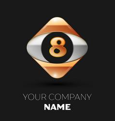 golden letter eight logo in golden-silver square vector image