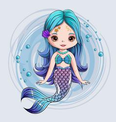 hand drawn cute mermaid character smiling mermaid vector image