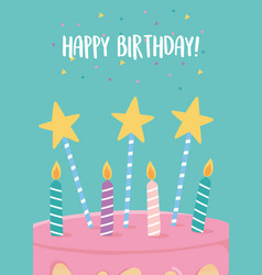 Happy birthday cake with candles and stars vector