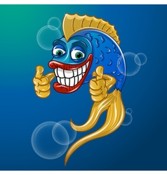 Happy fish showing thumbs up and smiling vector