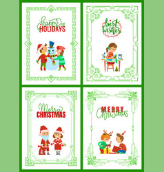 happy holidays merry christmas greeting cards vector image