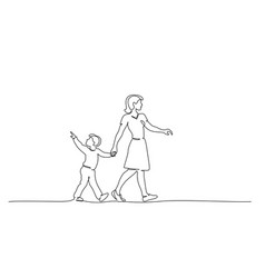 happy mother and chlid boy walking together vector image