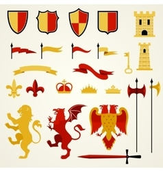 Heraldic Elements Set vector image vector image