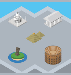 isometric travel set of coliseum india mosque vector image