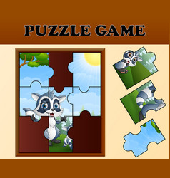 Jigsaw puzzle game with happy raccoon vector
