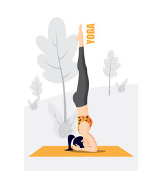Lady in black gym outfit is standing head down vector