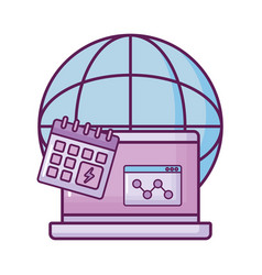 Laptop with planet and calendar vector