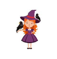 Little red-haired girl witch standing with one vector