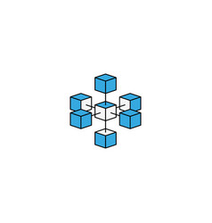 Logo blockchain technology connected isometric vector