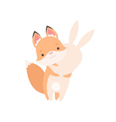 Lovely white little bunny and fox cub hugging vector