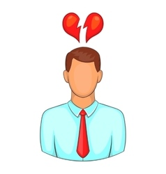 Man and broken heart icon cartoon style vector
