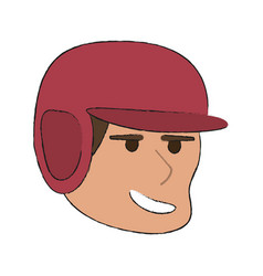 man playing baseball with helmet sport or fitness vector image