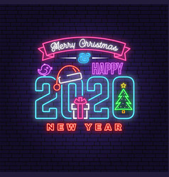 Merry christmas and 2020 happy new year neon sign vector