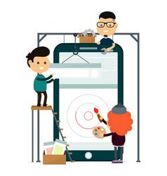 Mobile phone app design and development vector