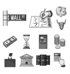 Money and finance monochrome icons in set vector