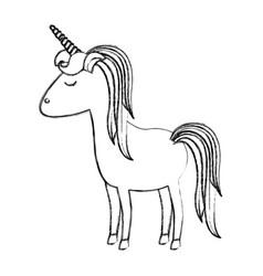 Monochrome blurred silhouette of cartoon unicorn vector