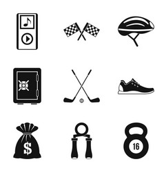 music for training icons set simple style vector image