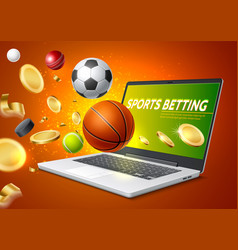 online sports betting mobile app laptop vector image