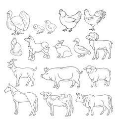 Outline figures of farm vector