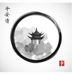 pagoda temple and forest trees in black enso zen vector image