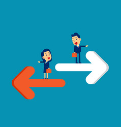 Person pointing to different direction business vector