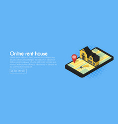Real estate online searching isometric flat web vector