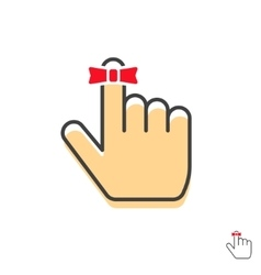 Reminder finger icon with red string bow vector