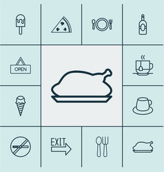 Restaurant icons set with alcohol disposable tea vector